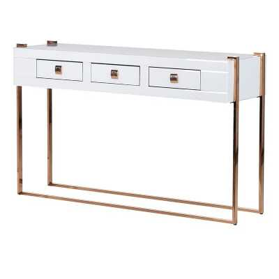 Modern White Mirror and Rose Gold Console Table