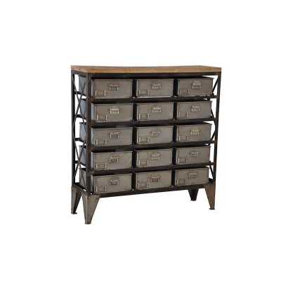 Guru Industrial Style Iron 15 Tray Drawer Chest with Wooden Top