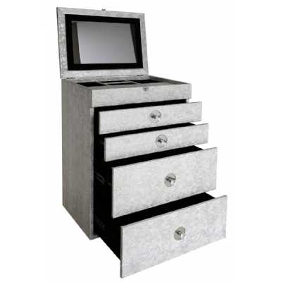 Silver Faux Snakeskin 4 Drawer Jewellery Box with Mirrored Lid Top