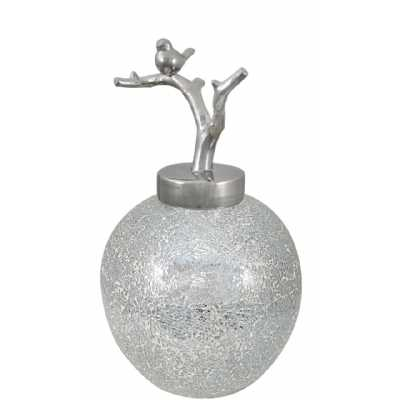 Ceramic Jar Silver Mosaic Bird On Branch Lid Silver (49cm)