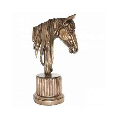 Decorative Large Bronze Horse Head Statue On Fluted Round Stand