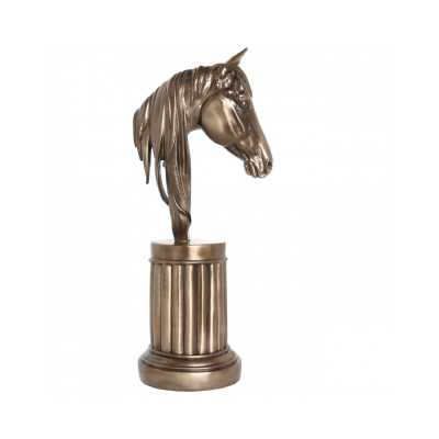 Decorative Bronze Horse Head Statue On Fluted Round Stand