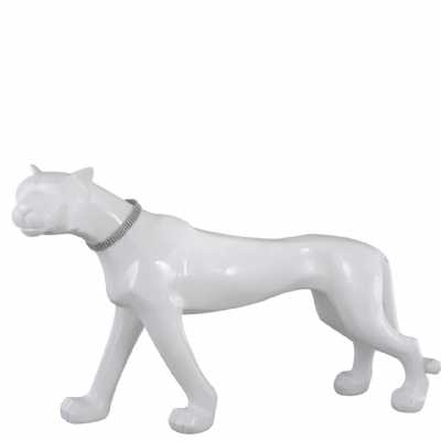 Standing White Panther Decoration