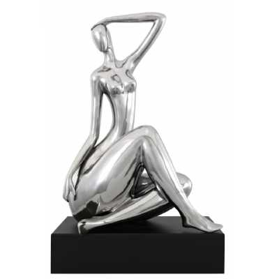 Right Facing Silver Abstract Lady On Black Stand