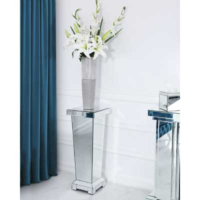 Modern Alice Mirrored Glass Small Decorative Pedestal Stand