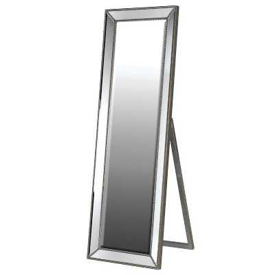Large Floor Standing Pewter Cheval Mirror with Beaded Edges