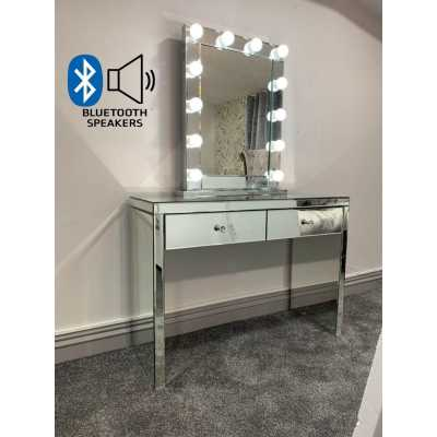 Hollywood Glass Console And Desktop Mirror with Bluetooth Speaker