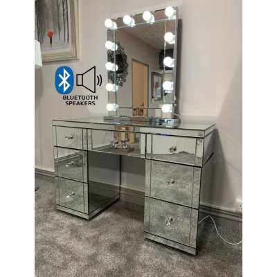Hollywood Glass Dresser And Desktop Mirror with Bluetooth Speaker