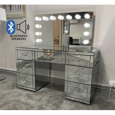 Hollywood Glass Dresser And Tabletop Mirror with Bluetooth Speaker