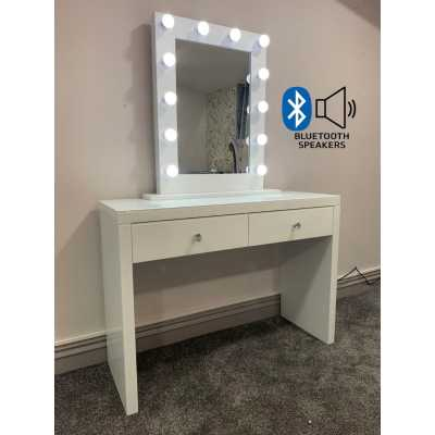 Hollywood White Console And Desktop Mirror with Bluetooth Speaker