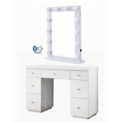 Hollywood White Dresser And Desktop Mirror with Bluetooth Speaker