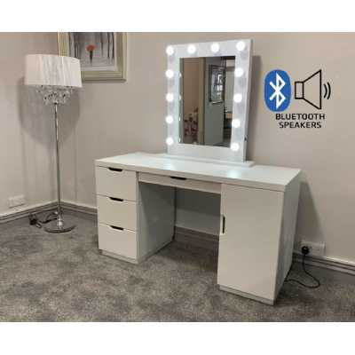 LA Dressing Table And White Desktop Hollywood Mirror with Bluetooth Speaker