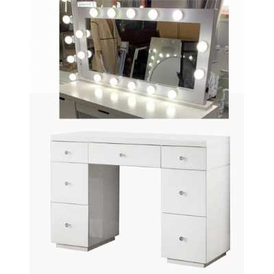 Hollywood White Dresser And Tabletop Mirror with Bluetooth Speaker