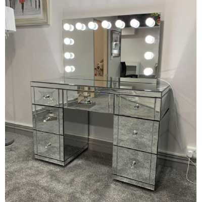 Hollywood Mirrored Glass Dressing Table and Tabletop Mirror with Lights
