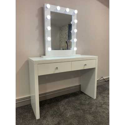 Hollywood White Console And Desktop Mirror