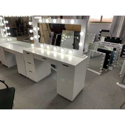 LA Dressing Table And White Tabletop Hollywood Mirror