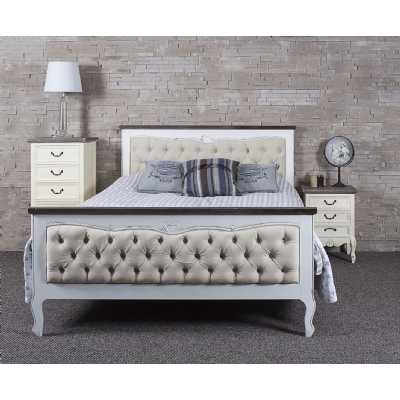 French Cream Upholstered Heart Bed 5ft White Distressed Frame