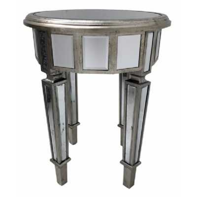 Small Round Mirrored Glass End Lamp Table With Antiqued Silver Trim