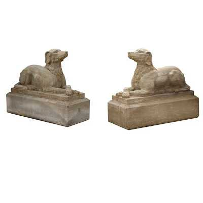 Pair Of Elegant Stone Crouching Dogs