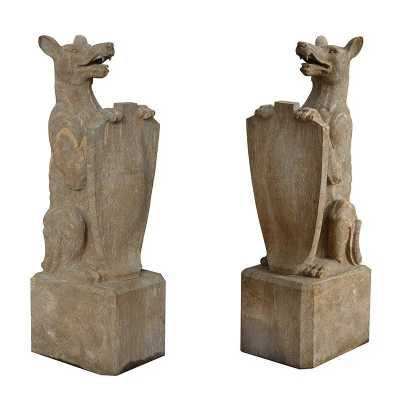 Pair Of Garden Stone Dogs With Shields