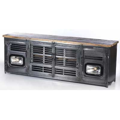 Upcycled Truck Grill Front TV Unit with Wooden Top and Headlight Lamps