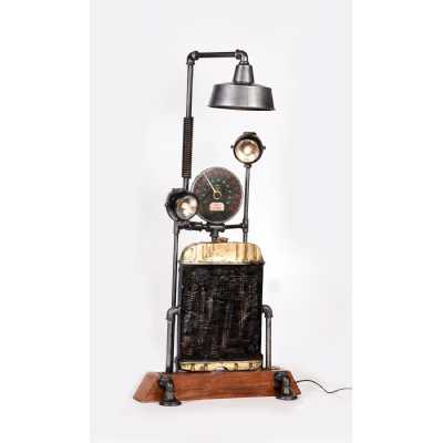 Upcycled Lighting And Furniture Wooden Base with Meter Floor Lamp