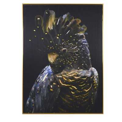 Modern Cool Funky Left Facing Realistic Parrot Framed Picture Wall Art