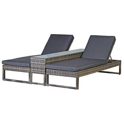 Garden 2 Piece Trending London Rattan Sun Lounger with Glass Top Table
