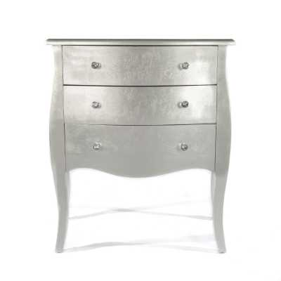 Alchemist New Silver Gilt Leaf High Gloss Chest Of 3 Drawers