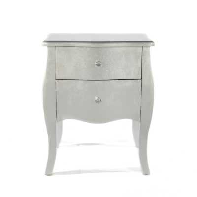 The Alchemist New Silver Gilt Leaf Small Bedside Table 2 Drawer