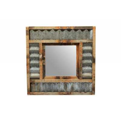 Contemporary Style Reclaimed Teak And Iron Square Shape Corrugated Wall Mirror 80 x 10cm