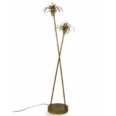 Antiqued Gold Finished Metal Iron Handmade Palm Tree Floor Lamp