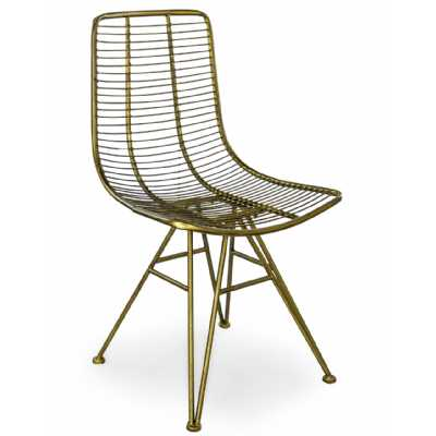 Retro Antique Gold Metal Industrial Style Dining Chair