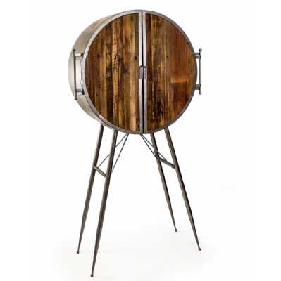 Art Deco Round Drum Industrial Metal Bar Cabinet with Reclaimed Wood Doors Retro Style