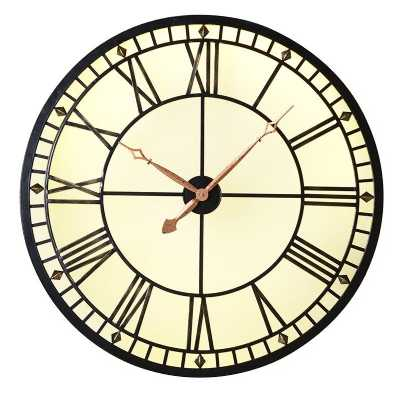 Lit Vintage Style Metal Round Gold Analogue Wall Clock Roman Numerals