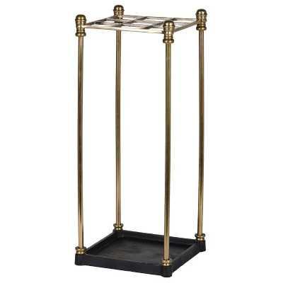 Square Gridded Brass Umbrella Stand with Black Drip Tray