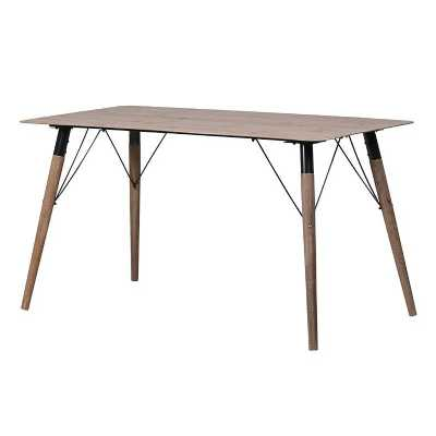 Modern Wood Effect Laminate Top Dining Table with Wooden Legs