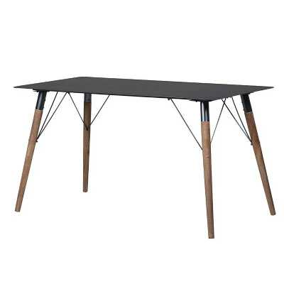 Modern Metal Top Dining Table with Wooden Legs
