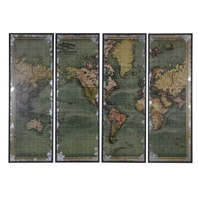 Large Vintage Distressed Antique Style 4 Piece World Map Wall Plaque