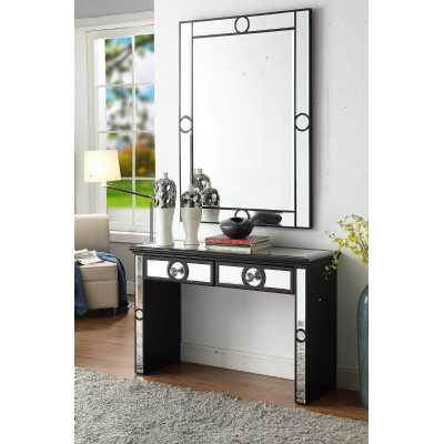 Black Henley Wall Mirror and Console Table Mirrored Glass Hallway Set