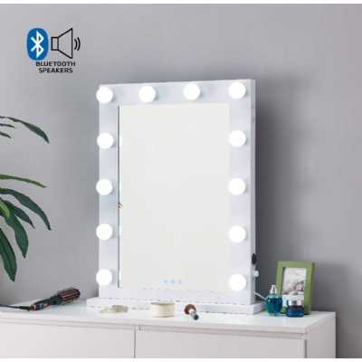 Desktop Hollywood Mirror White with Bluetooth Speaker