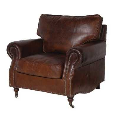 Quality Vintage Distressed Leather Armchair Antique Style