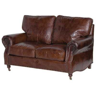 Vintage Leather 2 Seater Sofa Distressed Antique Style
