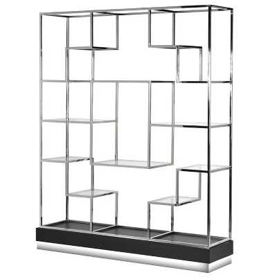 Contemporary Stepped Stainless Steel Open Bookshelf Display Unit