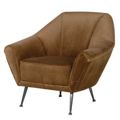 Retro Style Tawny Brown Velvet Accent Chair with Angled Metal Legs