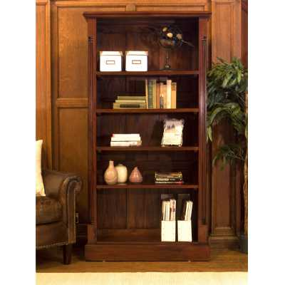 Mahogany Wood Tall Bookcase 5 Adjustable Shelves Traditional Dark Wood Finish