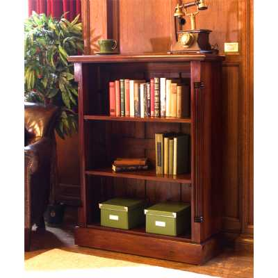 Mahogany Small Low Bookcase Shelf Unit in Traditional Dark Wood Finish