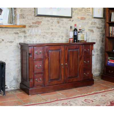 Mahogany Large Sideboard Traditional Dark Wood Finish 6 Drawers 2 Doors Base Unit Only
