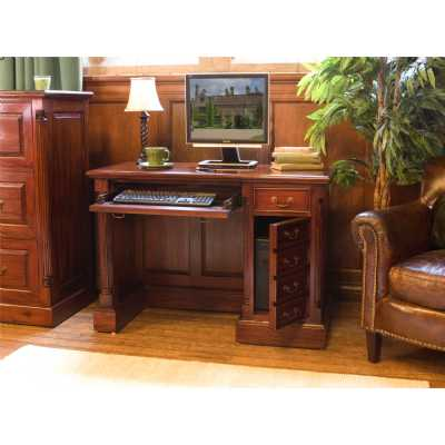 Mahogany Single Pedestal Computer Desk with Keyboard Tray and side Cupboard in Traditional Dark Wood Finish