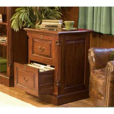 Mahogany 2 Drawer Office Filing Cabinet Traditional Dark Wood Finish